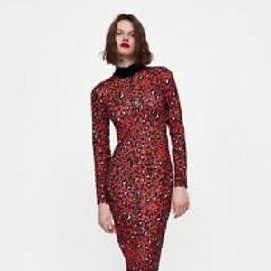 ZARA  NWT RED LEOPARD PRINT TUBE DRESS L/M